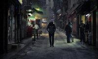 Walking through the city at night