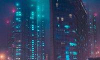 Rooftop in dystopic metropolis