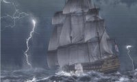 Sailing ship in Sea storm