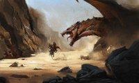 attacking dragon burns village