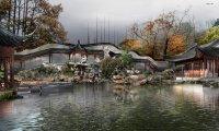 Japanese garden with rain
