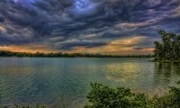 Early Morning Storm by a Lake