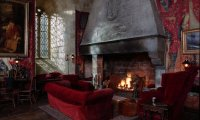 stormy castle study hall with crackling fireplace