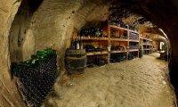 A cozy underground wine cellar