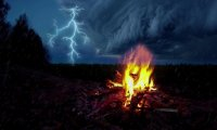 Relax by the fire and enjoy the thunder
