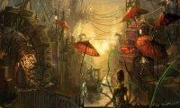 A humming bustling cyberpunk city