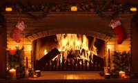 At the Fireplace with a snow storm