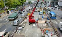busy construction in a city