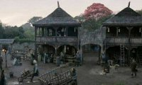 The courtyard at Winterfell with Arya Underfoot