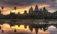 Angkor Wat is a temple in Cambodgia