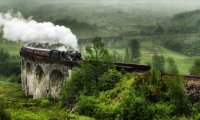 Speeding North in a Ravenclaw compartment on the Hogwarts Express on a stormy evening