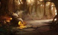 Inside Yoda's hut.