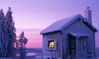bundled up inside a winter cabin