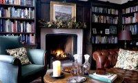 Cozy fireplace with rain