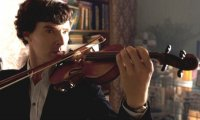 Studying in 221B with John writing and Sherlock playing his violin