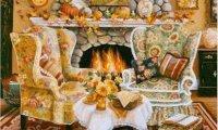 Warm Autumn Fireplace.