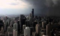 Tornado siren and thunderstorm.