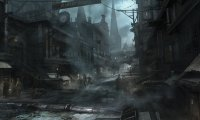 Audio mix for a gothic city street