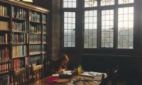 the winterfeld campus library, studying.