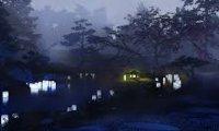 Reading in a Misty Garden