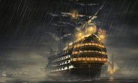 Ship and crew during a little storm