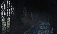 A rainy Hogwarts corridor