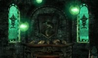 slytherin common room at night fireplace people studying whatever whatever