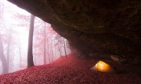 Camping inside a cave