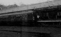Train travel on a rainy day