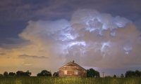 Thunderstorm in a cabin