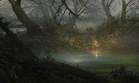 Uma densa floresta, que outrora fora viva e colorida, agora escura e pantanosa