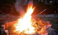 Winter winds and crackling fire