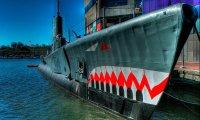 A huge old Diesel submarine