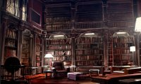Study at the Hogwarts Library with quiet whispers and rain outside.