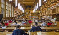 This environment offers the sounds of a bustling library.