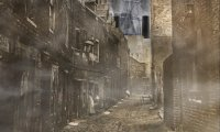Night on the streets of the distrct of Wapping in the late 1890s