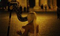 Celtic Harp and Wind Chimes Play Harmoniously on a Breezy Beach