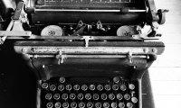 Typewriter near the coast
