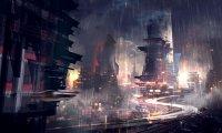 City by rainy night