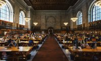 Hogwarts Library with Heavy Rain and People Talking