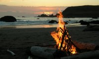 Camping & Bonfire By The Sea