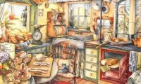 Cooking a delicious lunch in your little cottage
