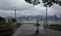 a walk in the city in the midst of a storm