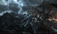 A ship is caught in the battle of the elements at sea