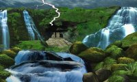 Waterfall, thunder, birds, insects, forest
